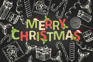 Achtergrond met groetcitaat - vrolijk kerstfeest en met de hand getekende doodles