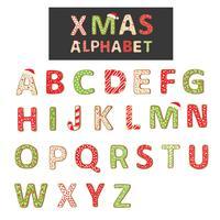 Het vectoralfabet van het Kerstmiskoekje dat op wit wordt geïsoleerd