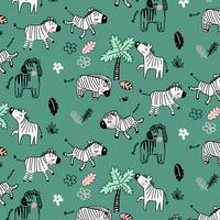 Hand getekend zebra in natuur patroon vector