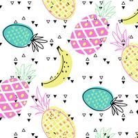 Hand getekend helder tropisch fruit patroon
