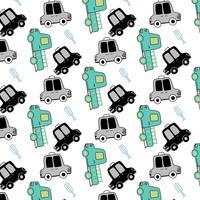 Hand getekend eenvoudige vorm taxi en bus patroon