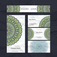Set van groene visitekaartjes