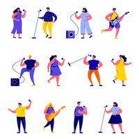 Set van platte mensen zangers met microfoons en muzikanten personages vector