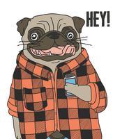 Hand getrokken koele pug hond die flanel draagt en drankillustratie houdt