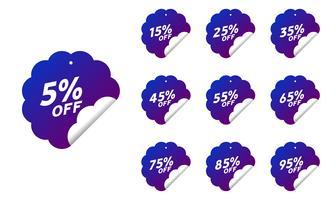 Kortingslabels met het procentuele kortingstarief vector
