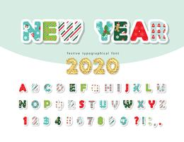 Nieuw jaar 2020 lettertype vector