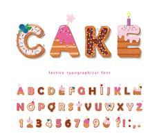 Taart cartoon lettertype.