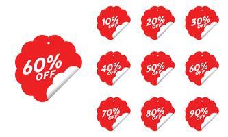 Kortingslabels met procent korting op de prijs