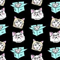 Hand getekend domme kat gezichten patroon vector