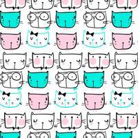 Hand getekend zwarte lijn kat gezichten patroon vector