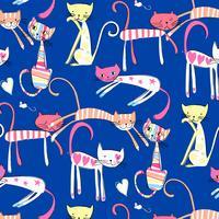 Hand getekend kleurrijk gelukkig kattenpatroon vector
