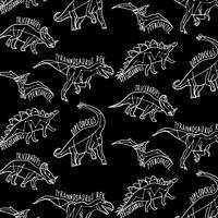 Hand getekend witte omtrek dinosaurussen met labels patroon