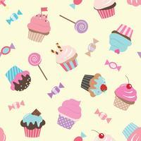 Verjaardag naadloos patroon met snoepjes.