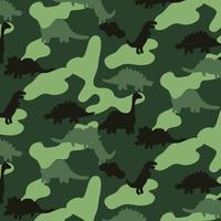 Hand getekend groen camouflage dinosaurus patroon vector
