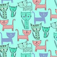 Hand getekend eenvoudige vormen gelukkig kat patroon vector