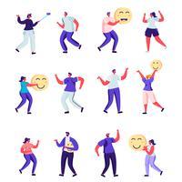 Set van platte mensen vrolijke en positieve karakters