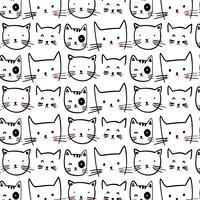 Hand getekend zwarte omtrek kat gezichten patroon vector
