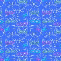 Hand getekend cool kat gezichten met glazen patroon vector