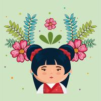 klein kawaii Japans meisje met bloemenkarakter vector