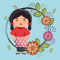 Aziatische meisjeskawaii met bloemenkarakter vector
