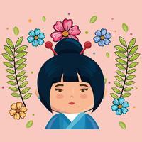 Roze klein Japans meisje kawaii met bloemen karakter vector