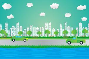 Papier kunst design stijl, stad met gras, zon, wolk, natuur ecologie idee. vector