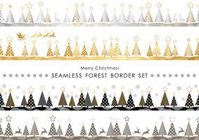 Set van Kerstmis naadloze bosgrenzen