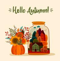 Herfst schattig illustratie. Vector ontwerp voor kaart, poster, flyer