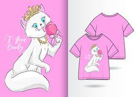 Ik hou van Candy Hand getrokken Kitty T-shirt ontwerp