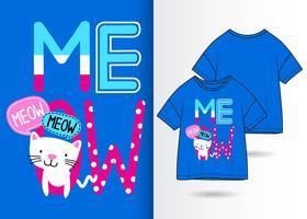 Miauw Hand getrokken Kitty T-shirt ontwerp vector