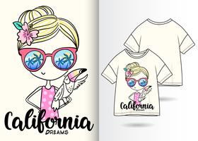 California Dreams Hand getrokken meisje T-shirt ontwerp