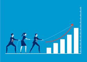 Bedrijfsmensen die kabel over grafiek trekken. Zakelijke rivaliteit en concurrentie op blauwe achtergrond.