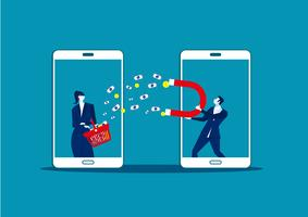 Bedrijfs mens die een grote magneet houdt en geld van mobiele winkel aantrekt