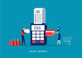 vrouw betaling met POS-terminal en creditcard. vector