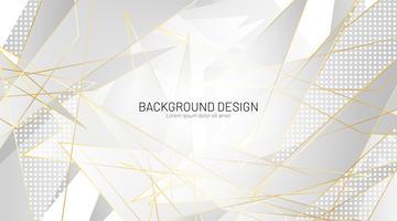 Grijze driehoek en gouden lijnen geometrische achtergrond
