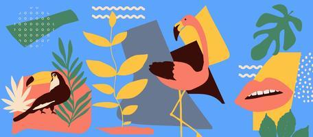 Tropische bladeren poster achtergrond met flamingo en toekan