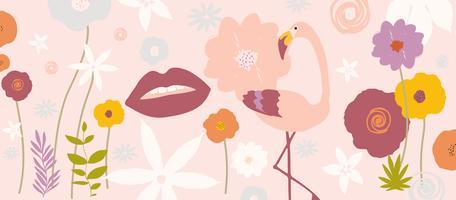 Tropische bladeren en bloemenafficheachtergrond met flamingo