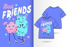 Beste Monster-vrienden Handgetekend T-shirtontwerp vector