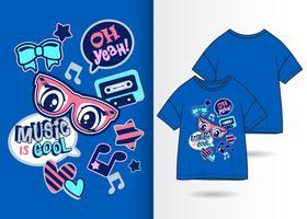 Muziek is cool Hand getrokken T-shirtontwerp vector