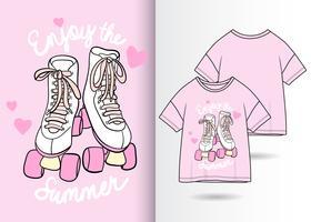 Rolschaatsen Hand getrokken T-shirt ontwerp vector