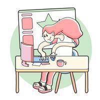 Grafisch kunstenaar werkende illustratie
