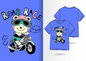 Bear Road Race Hand getrokken T-shirtontwerp vector