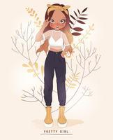 Hand getekend schattig meisje in broek en witte top met bloem achtergrond