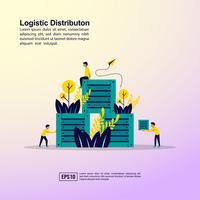 Logistieke distributie bestemmingspagina vector