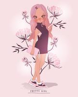Hand getekend schattig meisje met telefoon en tas met bloem achtergrond