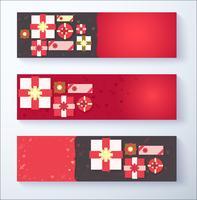 Aftelkalender voor Valentijnsdag banner achtergrond met geschenkdoos vector