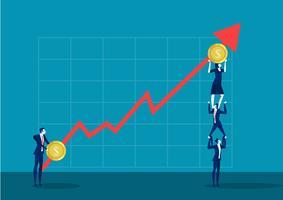 Team van bedrijfsmensen die zich op schouders bevinden die financiënpijl houden vector