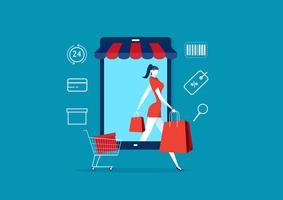 Vrouwen komen uit smartphone. dame in winkel met pakketten