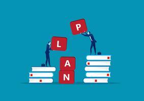 Twee cartoon zakenman bedrijf alfabetten vormen het woord PLAN