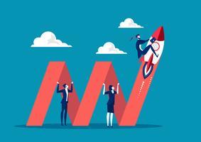 zakenmensen houden grafiek pijl voor groei van het bedrijfsleven vector